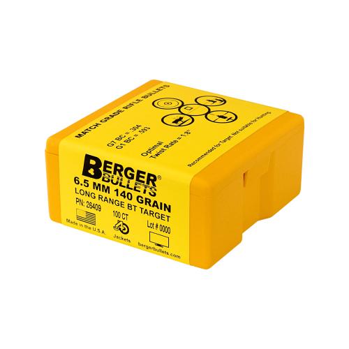 Berger 6.5mm 140 Gr Long Range BT Target Bullets (100 Ct)