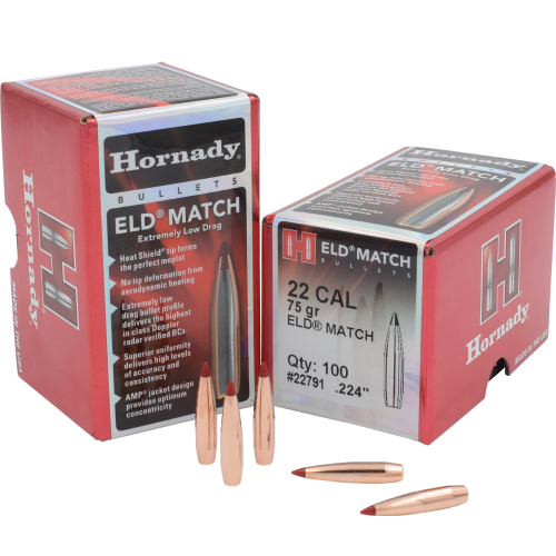 Hornady .22 Cal .224 75 Gr ELD Match Bullet (100 Ct)