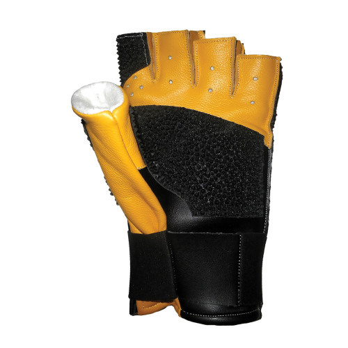 CREEDMOOR OPEN FINGER LEATHER BLACK AND YELLOW GLOVE