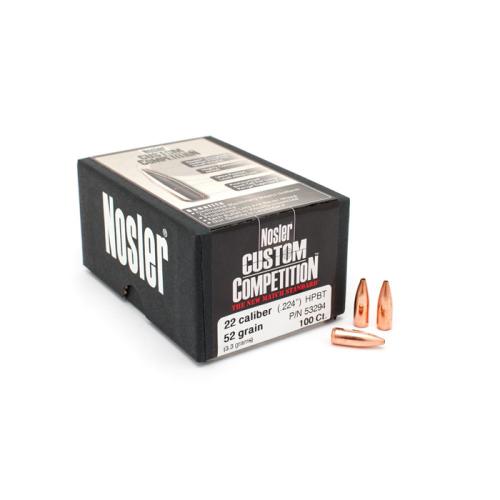 Nosler 22 Cal 52 Gr HPBT Bullets (100 Ct)