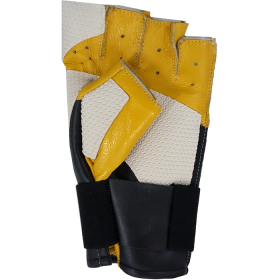 Clearance White & Yellow Leather Open Finger