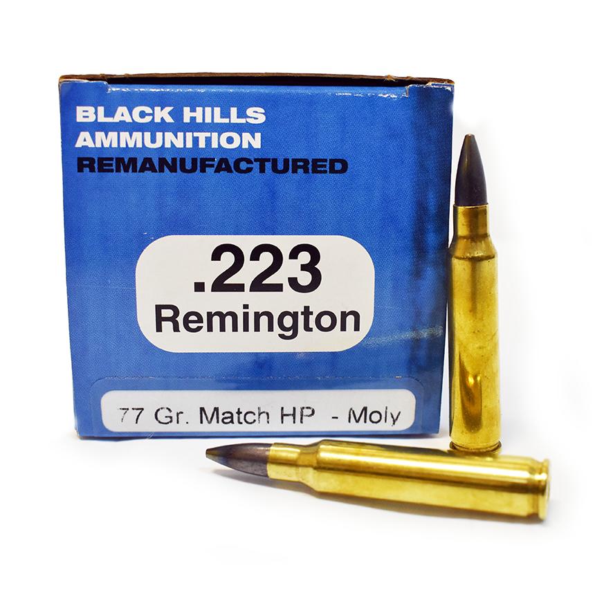 BLACK HILLS AMMO .223 77 GR. REMAN MOLY