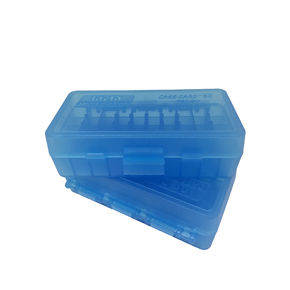 MTM 50 Ct 9mm Pistol Ammo Box Blue