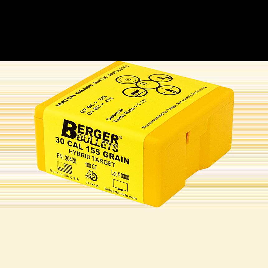 Berger 30 Cal 155 Gr Hybrid Target Bullets (100 Ct)