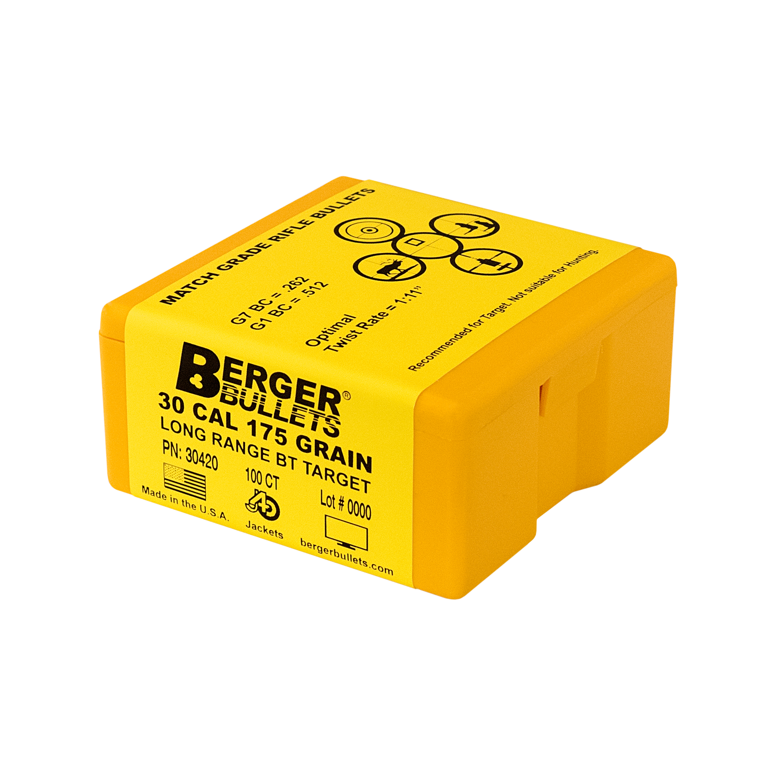 Berger 30 Cal 175 Gr Long Range BT Target Bullets (100 Ct)