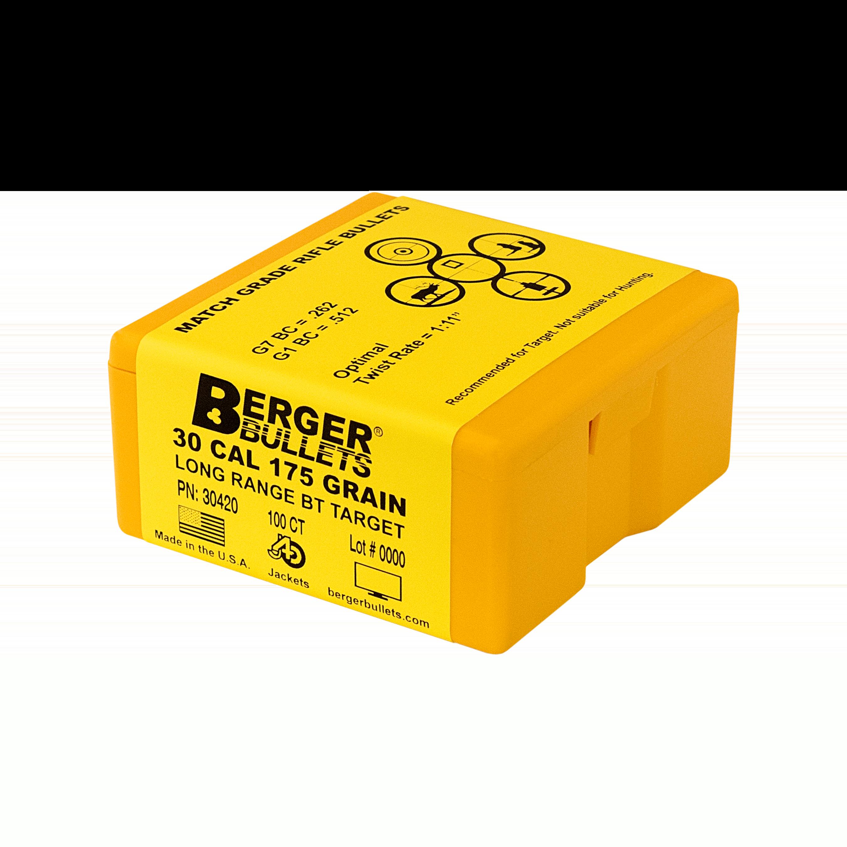 Berger 30 Cal 175 Gr Long Range BT Target Bullets (100 Ct)