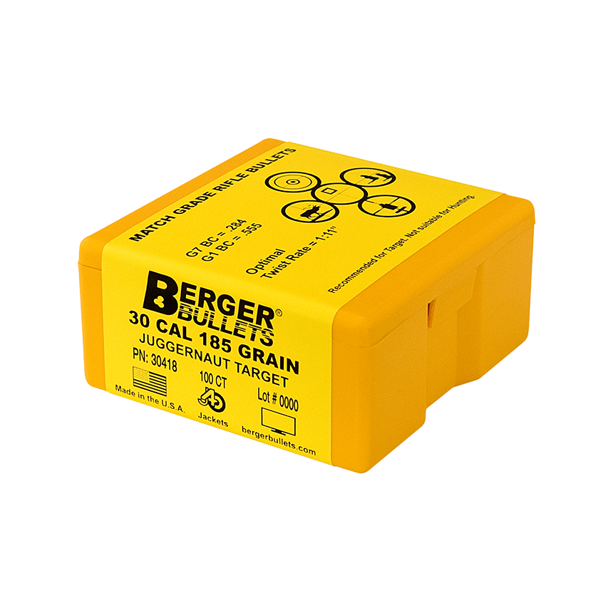 Berger 30 Cal 185.5 Gr Juggernaut Target Bullets (100 Ct)