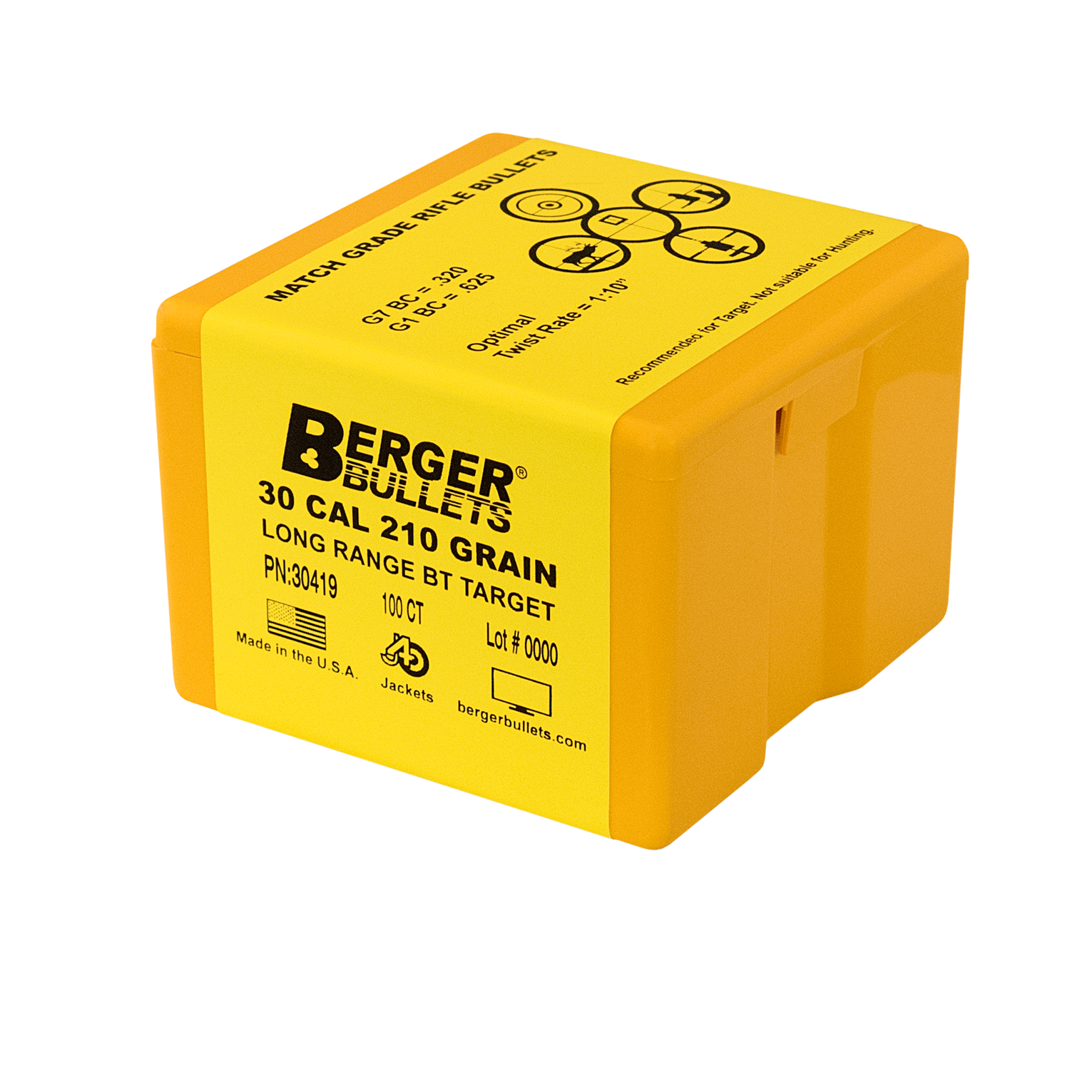Berger 30 Cal 210 Gr Long Range BT Target Bullets (100 Ct)