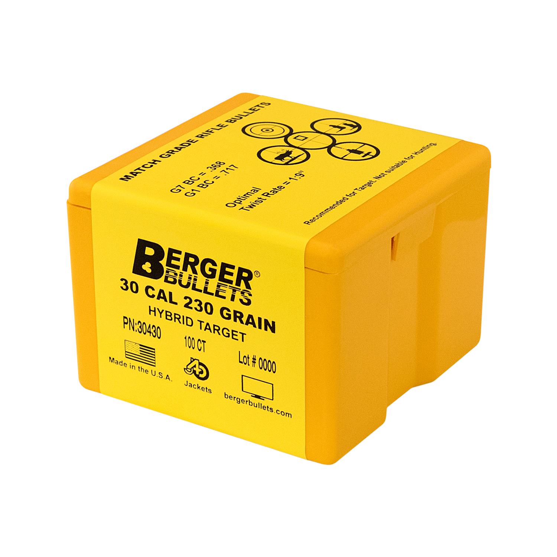 Berger 30 Cal 230 Gr Hybrid Target Bullets (100 Ct)