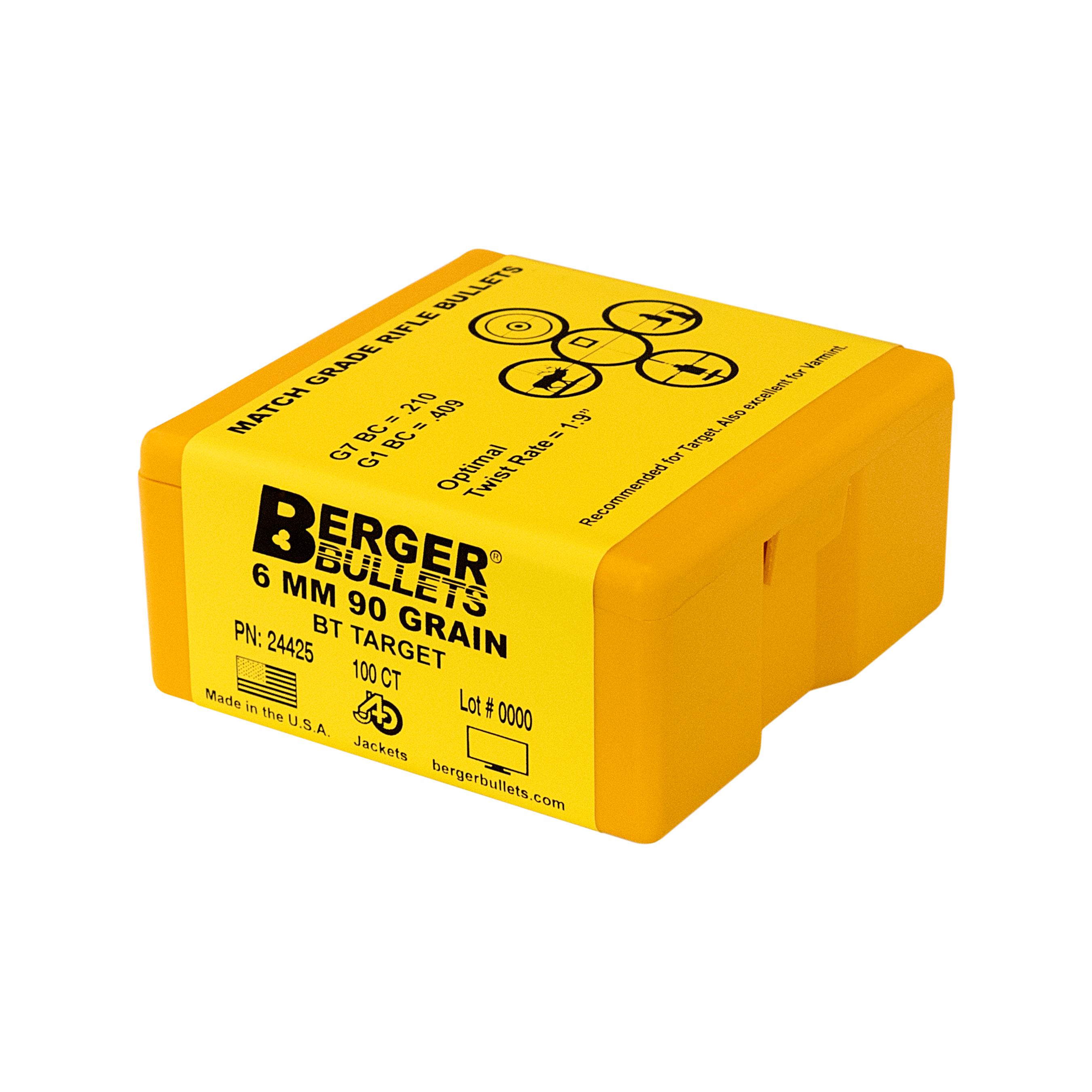 Berger 6mm 90 Gr BT Target Bullets (100 Ct)