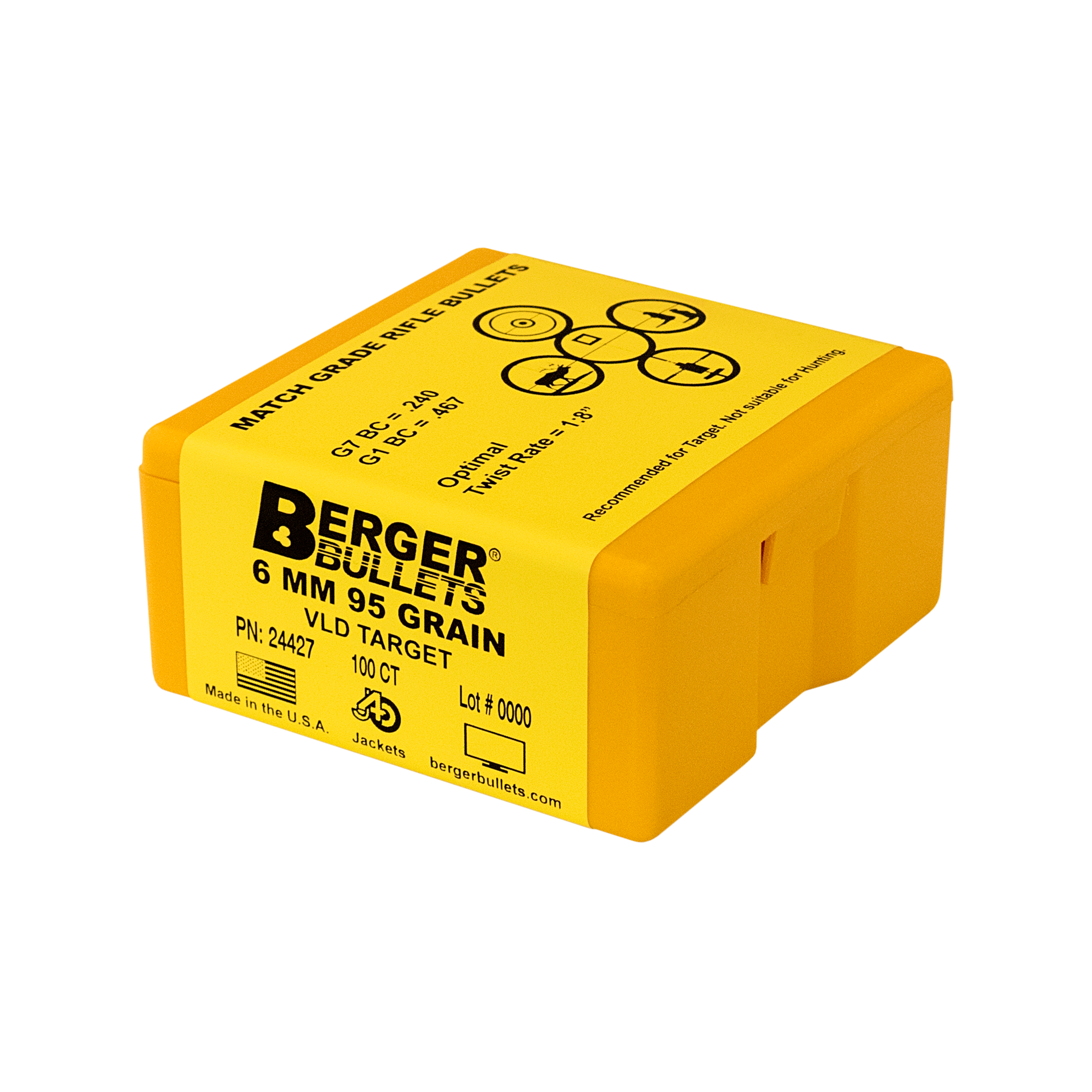 Berger 6mm 95 Gr VLD Target Bullets (100 Ct)