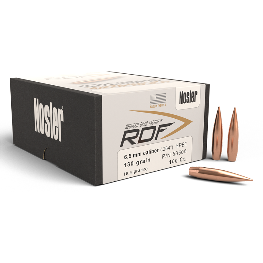 NOSLER RDF 6.5MM 130 GR HPBT BULLETS (100 CT)