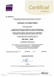 Crouzet Aerospace afaq certification 9001