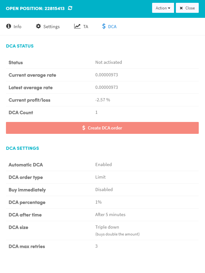 DCA dollar cost averaging automatic automated crypto cryptocurrency trading bot bitcoin cryptohopper