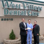 (From left to right: Brian Mosallam, Chairman – Dearborn Education Foundation, Dr. Mei, Owner – West Village Dental Care, and Eddie N. Fakhoury, Executive Director – Dearborn Education Foundation)