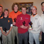 Congratulations to the DHS golf team - Evan Bowser, Alex Haam, Matt Januszkowski, and John Marcon - as they take home the trophies. Mr. Inch (far left) and Mr. Fawaz (far right)