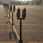 Row of Parking Meters in Dearborn, Michigan