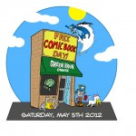 Free Comic Book Day at Green Brain Comics - Tshirt Art