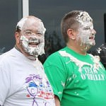 Mayor OReilly and Gary Woronchak with pie on face
