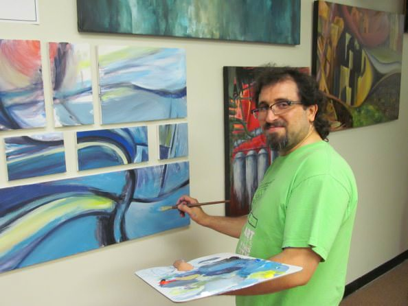 Artist Mohamad Bazzi at the 12 on 12 Art Gallery in Dearborn (photo credit: Douglas Vos)