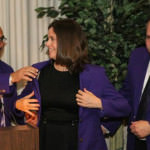 PURPLE COAT AWARD - Justice McCormack is shown in the photo above, with Wayne County Circuit Judge David Allen, the 2012 honoree, and Judge Jim Rashid