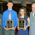 Mayor John B. O'Reilly, Jr. (left) congratulated the Van Patrick High School Athletes of the Year, Bryce Norwood of Dearborn High and Lindsey Brewis of Divine Child. Joining in the celebration was Mickey Patrick (right), former Recreation Commissioner and son of sports broadcasting legend Van Patrick.