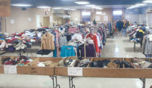 Rummage sale donations for women's, men's and children's clothing, are sorted by volunteers and displayed in different rooms of Cherry Hill Presbyterian.