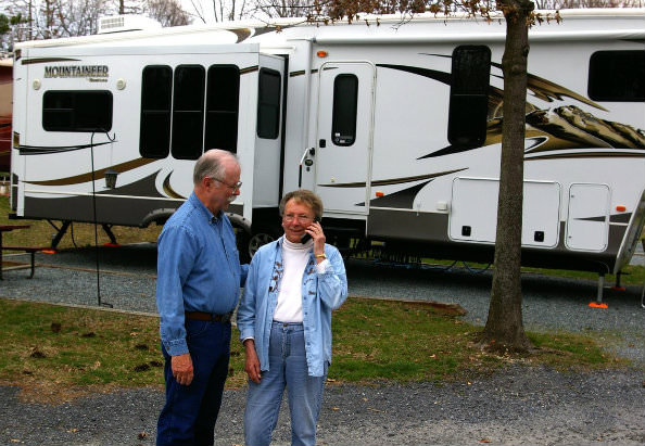 Ciarkowski's daughter Marcia and her husband Ray Waugh check in with Senior Care Solutions by cell phone on the road in their RV.