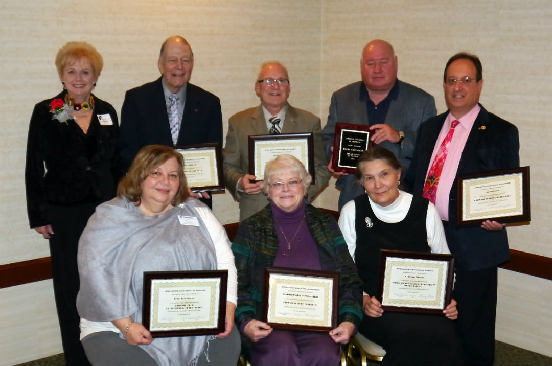 The Inter-Service Club Council (ISCC) of Dearborn honored outstanding members of Dearborn's service clubs during its annual luncheon Nov. 12. The ISCC selected Barry Hawthorne of the Dearborn Optimist Club as the 2014 Service Person of the Year from among eight nominees, presented by their clubs for consideration of the honor. Shown here are (back row, from left): Sharon Olshansky, Garden Club of Dearborn; John J. Fish, Jr., Dearborn Rotary Club; Dennis Scanland, Exchange Club of Dearborn; Barry Hawthorne, Dearborn Optimist Club; James Perri, Fairlane Sunrise Rotary. (Front row, from left) Rosa Scaramucci, Kiwanis Club of Dearborn Outer Drive; Mary Suiter, the widow of J. Michael Suiter, Kiwanis Club of Dearborn; and Christine Hilbush, American Association of University Women.