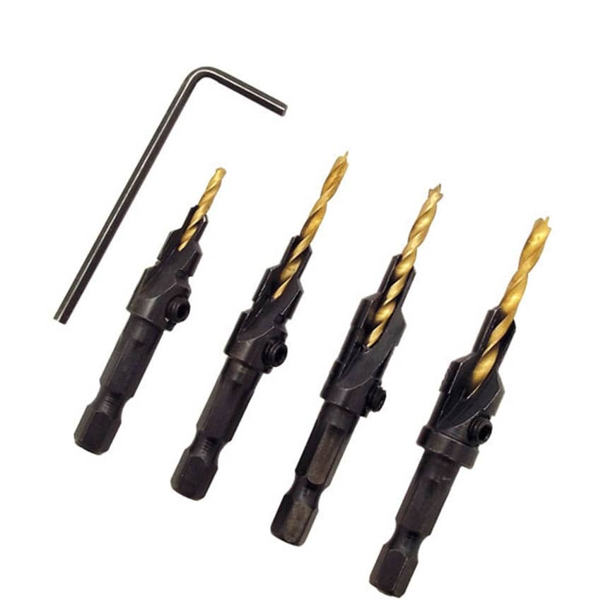 4 Piece Countersink Drill Bit Set