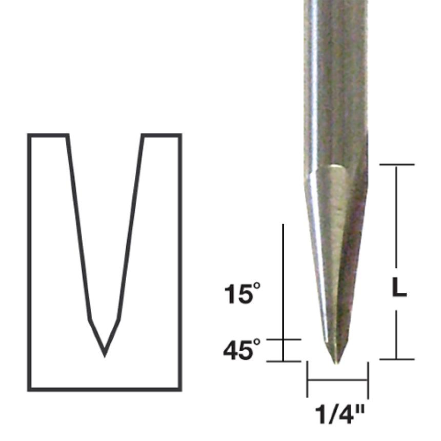 Solid Carbide 45° / 15° Sign Making Veining Bit