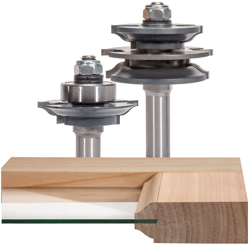 Matched Rail & Stile Router Bit Set for Glass Doors