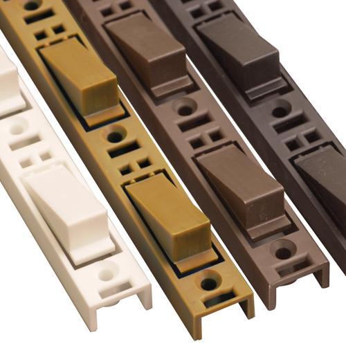 Adjustable shelving strips