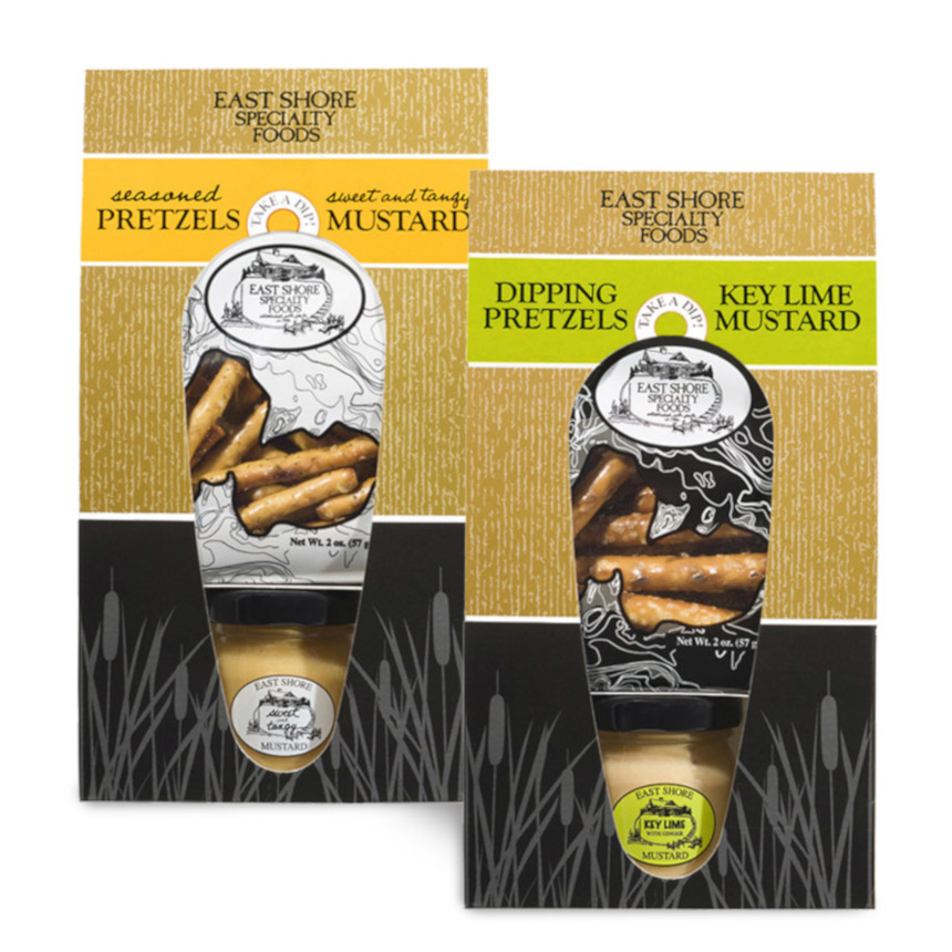 East Shore Seasoned Pretzels & Mustard Snack Set