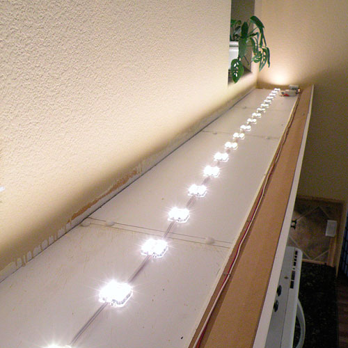 Under Kitchen Cabinet Lighting Ideas: Above Cabinet LED Lighting Using LED Modules