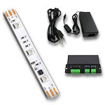 Water-Resistant Digital RGB LED Strip Light Kit, DMX Decoder, Ribbon, PS