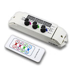 3 Knob RGB LED Controller with Digital Display & RF Remote, 12-24V 6A/CH