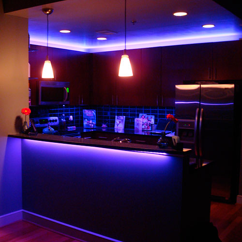 Rgb led kitchen using led strip lights for Kitchen led lighting
