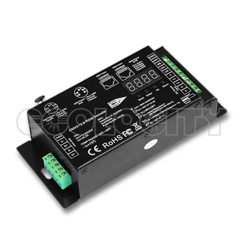 Flicker Free 1 or 5 Channel Adjustable LED DMX Decoder, 12-24VDC 8A/CH