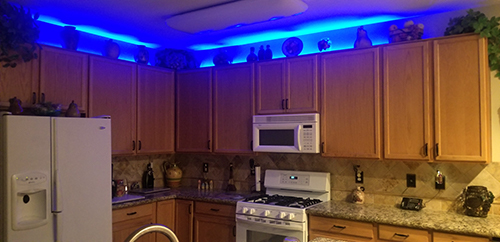 Rgb Strip Lights Are Used For Above Kitchen Cabinet Accent