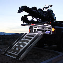 A Truck Bed Sled Deck lights up using Ribbon Star Ultra LED Strips