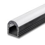 "1 Meter Black Anodized Aluminum Extrusion with Focus Lens - .5"" Deep"