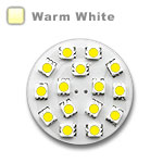 G4 Round Wafer Bulb with 15 - 5050 type LEDs - Warm White