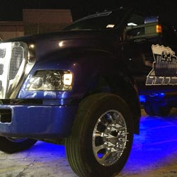12V Max Blue Waterproof LED Strips light up a Ford F-650 Custom