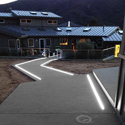 In Ground Extrusions Light up this Concrete Pathway