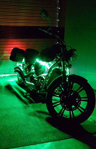 12v waterproof led strips are used on a custom motorcycle and vivid light accent for this custom chopper his customer was extremely thrilled with the results and is sure to stand out from his biker buds aloadofball Gallery