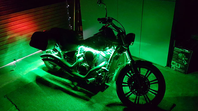 12v waterproof led strips are used on a custom motorcycle and vivid light accent for this custom chopper his customer was extremely thrilled with the results and is sure to stand out from his biker buds aloadofball Choice Image