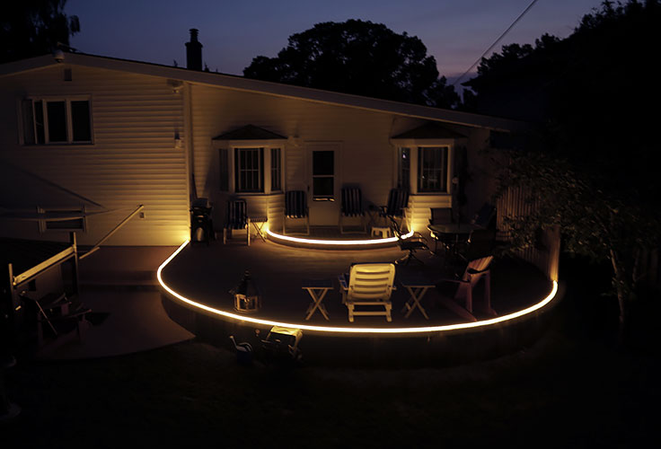 led strip lights for deck lighting and patio lighting. Black Bedroom Furniture Sets. Home Design Ideas