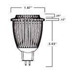 mr16 e27 led bulb dimensions