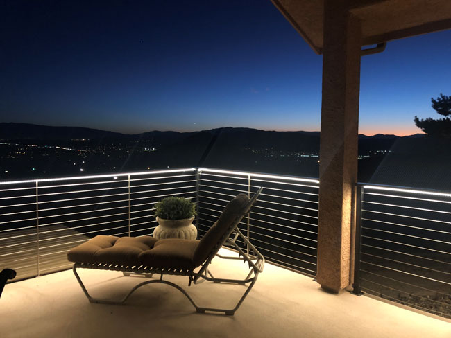 3528 Waterproof Strip Lights Are Used Under Railing Of An Outdoor